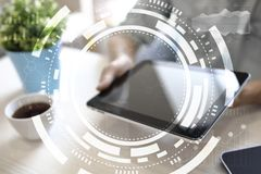 Virtual screen business, technology and internet concept Royalty Free Stock Photography