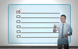 Virtual screen with checklist Stock Photos
