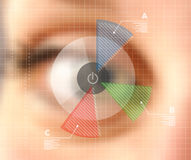 Virtual screen eye infographics blurred effect Royalty Free Stock Images