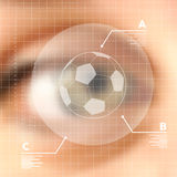 Virtual screen human eye soccer concept Stock Photo