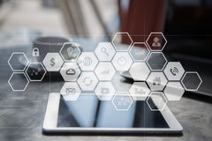 Virtual screen interface with applications icons. Internet technology concept. Stock Photos