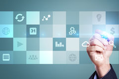 Virtual screen interface with applications icons. Internet technology concept. Stock Photo