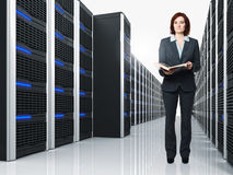 Virtual server 3d and woman Stock Photo