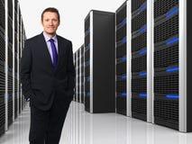 Virtual Server 3d y hombre Fotografía de archivo