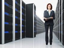 Virtual Server 3d y mujer Foto de archivo