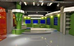 Virtual set green. 3D Virtual set for TV, green theme Stock Photo