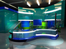Virtual set news. 3D virtual set, news and information Stock Image