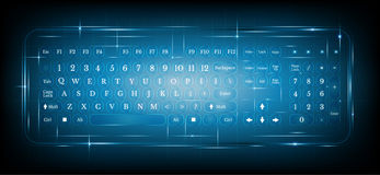 Virtual shiny computer pc keyboard or keypad on blue. Background.dialing Royalty Free Stock Photo