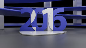 Virtual show room with 2016 new year simbol, on black Stock Photography
