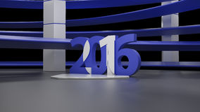 Virtual show room with 2016 new year simbol,isolated on black Stock Photos