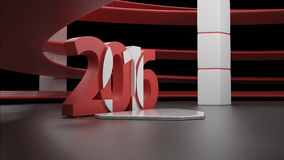Virtual show room with 2016 new year simbol,isolated on black. 3d virtual studio RAW render vector illustration