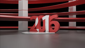 Virtual show room with 2016 new year simbol,isolated on black. 3d virtual studio RAW render stock illustration