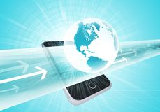 Virtual smartphone and Earth. With wide line and arrows on abstract background. Elements of this image furnished by NASA Stock Images