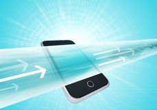 Virtual smartphone wide line with arrows Stock Photos