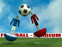 Virtual soccer-player. Two virtual player in action on empty stadium - 3d rendering Royalty Free Stock Photo