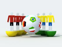 Virtual soccer team. And soccer-ball with flags Stock Photo