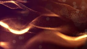 Virtual space with depth of field for HUD digital elements. Loop gold background illustrating the microcosm or. Virtual space with depth of field for HUD digital stock footage