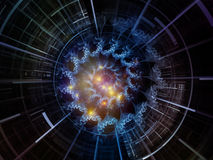 Virtual Space Emitter. Central Design series. Backdrop composed of fractal radial patterns and light and suitable for use in the projects on education, science Royalty Free Stock Photos