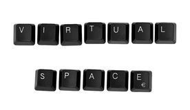VIRTUAL SPACE sign written on a keyboard Stock Images