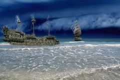 Virtual spot where ghost ships go to complete their final voyage. These ships of lore have traveled the seven seas and seen many a battle to the death for Royalty Free Stock Image