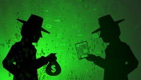 Virtual Spy Buy. Cyberspace virtual reality abstract 3d illustration, shadow figures cash buy data, horizontal Stock Photography