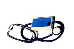 Virtual stethoscope for auscultating different types of patient lungs and heart sounds. During simulation training, isolated on white stock photos