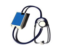 Virtual stethoscope for auscultating different types of patient lungs and heart sounds. During simulation training, isolated on white royalty free stock images