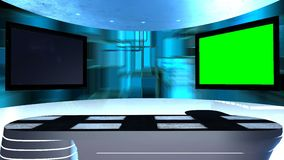 Virtual studio with a table and two TV screens. Virtual tv studio is designed to be used as a virtual background in a. Green screen or chroma key video stock footage