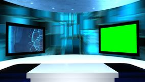 Virtual studio with a table and two TV screens. Virtual tv studio is designed to be used as a virtual background in a. Green screen or chroma key video stock video footage