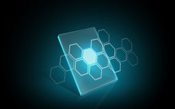 Virtual tablet or digital screen with hexagon Royalty Free Stock Image
