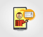 Virtual Teacher showing a certificate through the cell phone. Virtual teacher in the cell phone screen pointing to a certificate Stock Photography