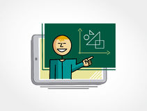 Virtual teacher teaching through the tablet. Virtual Teacher showing a lesson on the blackboard out of the tablet Royalty Free Stock Photo