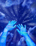 Virtual Technology Avatar Time. A pair of virtual hands reaching out into space and time Stock Photos