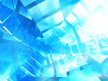 Virtual tecnology abstract blue background. 3d render illustration Royalty Free Stock Images