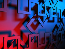 Virtual tecnology abstract blue background. 3d render illustration Royalty Free Stock Image