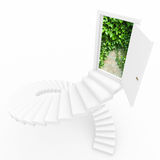 Virtual three-dimensional ladder into new world. Stock Photos