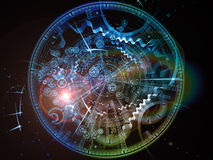 Virtual Time. Fractal Time series. Creative arrangement of clock and fractal elements as a concept metaphor on subject of time, science and moder technology Royalty Free Stock Image