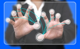 Virtual Touchscreen Interface Connection Stock Photos