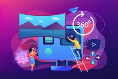 Virtual tour concept vector illustration. Business people on virtual reality tour 360 watching beautiful landscape and a camera. Virtual tour, 3d reality tours vector illustration