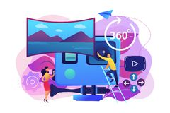 Virtual tour concept vector illustration. Business people on virtual reality tour 360 watching beautiful landscape and a camera. Virtual tour, 3d reality tours stock illustration