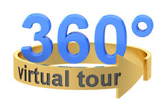 Virtual Tour, 360 degrees concept. 3D rendering. On white background royalty free illustration