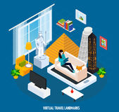 Virtual Travel Landmarks Museum Isometric Concept. Colored virtual travel landmarks museum isometric concept with visit museum while sitting at home on couch Stock Photography