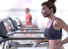 Virtual Tresdmill Woman Royalty Free Stock Photography