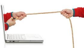 Virtual tug-of-war Stock Photo