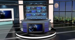 Virtual Tv News Set 27 Stock Photo