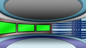 Virtual TV news studio set with green screens royalty free stock photos