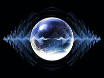Virtual Wave Particle. Wave Particle series. Backdrop of fractal spherical patterns and conceptual elements on the subject of science, technology, spirituality Royalty Free Stock Image
