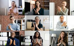 Free Virtual Webinar Conference Diverse Group Applause Stock Photo - 215624460