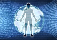 Virtual World. An illustration of a figure standing in the center of binary numbers and futuristic globe royalty free illustration