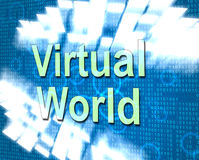 Virtual World Represents Web Site And Earth. Virtual World Meaning Globalization Www And Internet Stock Photography
